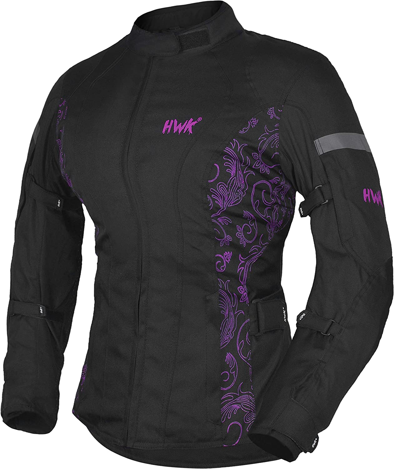 HWK Womens Motorcycle Jacket For Women Rain Waterproof Moto Riding Ladies Motorbike Jackets CE Armored (Black/Pink, XX-Large)
