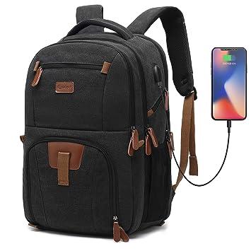 Coolbell 17,3 Laptop Mochila Impermeable Mochila Escolar Mochila de Viaje/Business Backpack/schützende Día Funda para Hombre/Mujer Negro Canvas Schwarz 17,3 ...