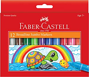 Faber-Castell Jumbo Broad Line Markers - 12 Colored Markers - Non-Toxic Supplies for Kids