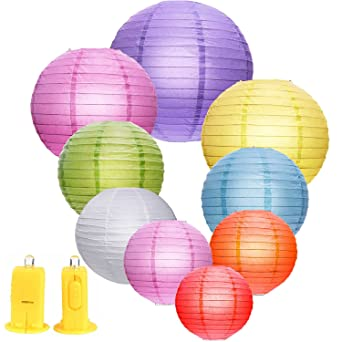Outus 9 Pieces Round Paper Lanterns and 9 Pieces LED Lights for