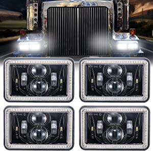 4 PCS 4x6 Inch LED Headlights 60W Halo DRL Turn Singal Rectangular Replacement H4651 H4652 H4656 H4666 H6545 Compatible with Peterbilt Kenworth Freightinger Ford Probe Oldsmobile Cutlass