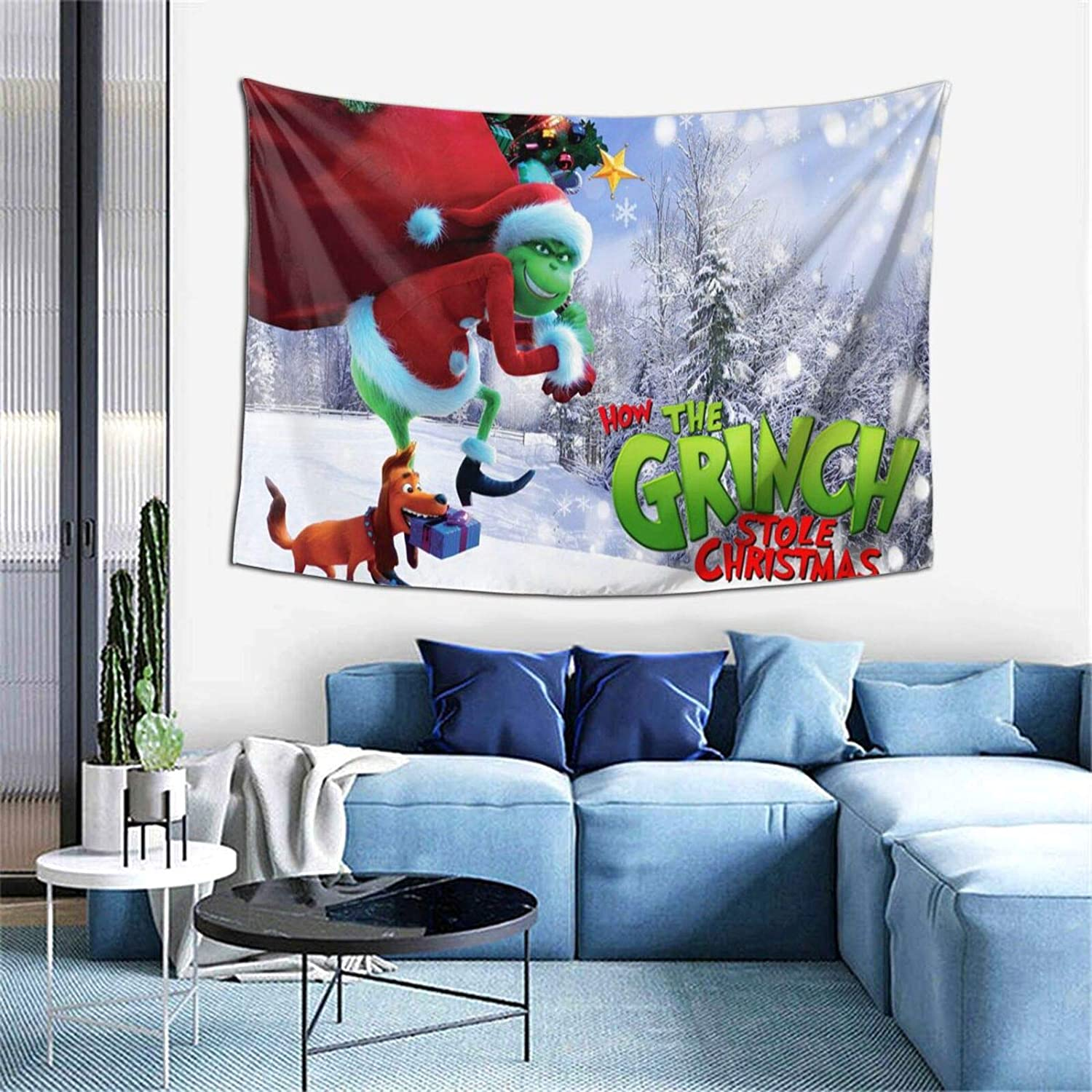 Bestrgi Fashion Office Print Fabric Tapestry The Artwork G-r-i-n-ch Decor Wall Art Blanket Tapestries Colorful Livingroom Bedroom Hall Dorm Living Room Hanging Bedding 60 x 40 inches Gift