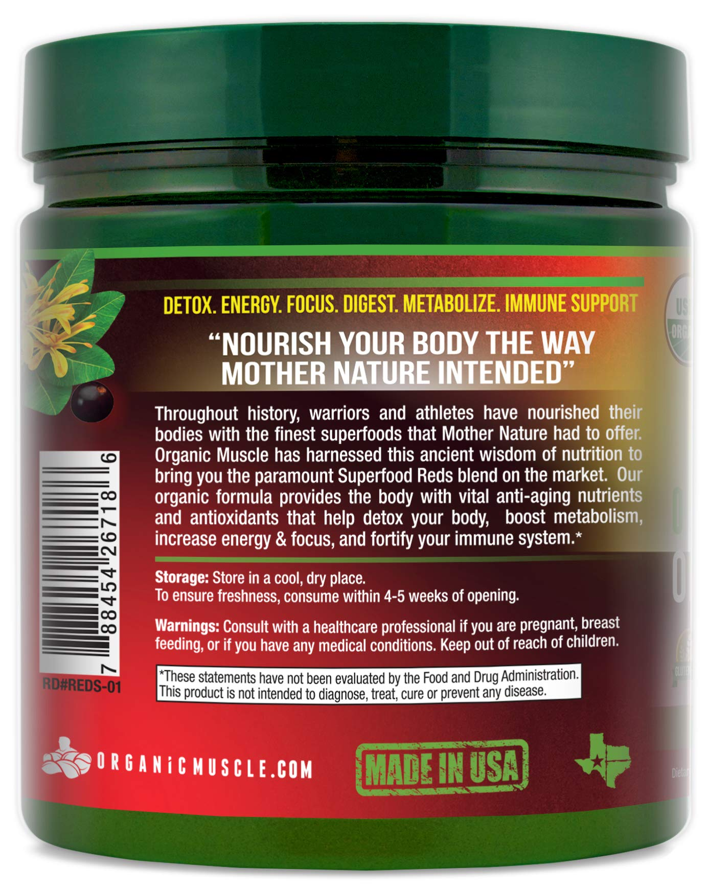 Certified Organic Superfood Reds Powder | Vital Reds Juice Supplement for Detox, Energy, Focus, Digestion, Metabolic Boost & Anti-Aging | Vegan, Non-GMO, Berry Flavor, 30 Day Supply | ORGANIC MUSCLE by Organic Muscle (Image #3)