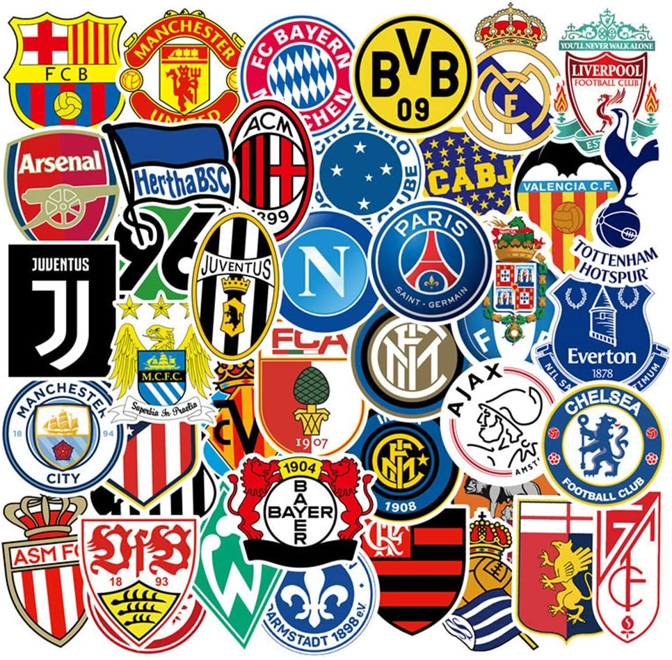 Soccer Team Laptop Stickers, 50pcs Football Sport Water Bottle Travel Case Computer Wall Skateboard Motorcycle Phone Bicycle Luggage Guitar Bike Decal