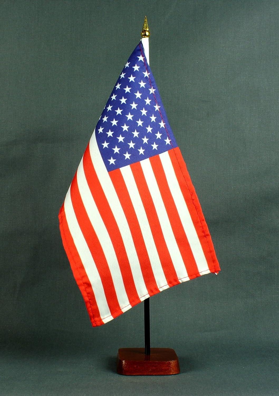 sehr standfest Buddel-Bini Tischflagge USA 15x25 cm mit Tischflaggenst/änder 37 cm aus Holz