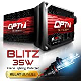 Blitz 35w H11 (H8, H9) HID Kit - Relay Bundle - All Bulb Sizes and Colors - 2 Yr Warranty [8000K Ice Blue Xenon