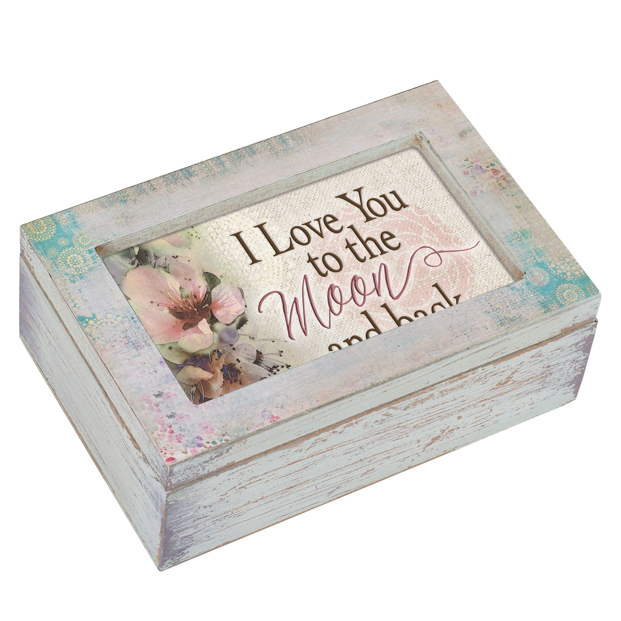 Cottage Garden Love You To the Moon and Back Distressed Wood Petite Decoupage Music Box Plays Edelweiss