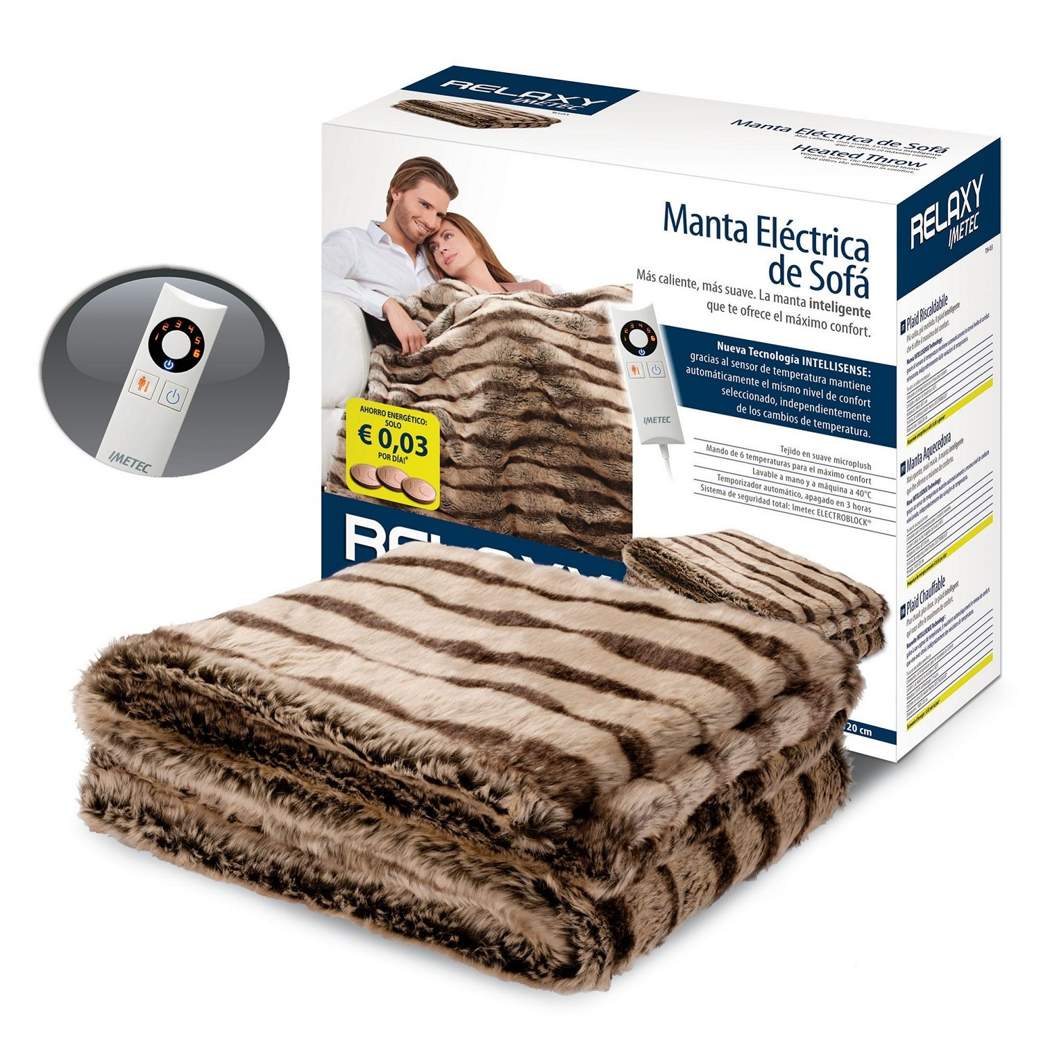 Imetec Relaxy IntelliSense Electric Fleece Sofa Blanket 160 x 120