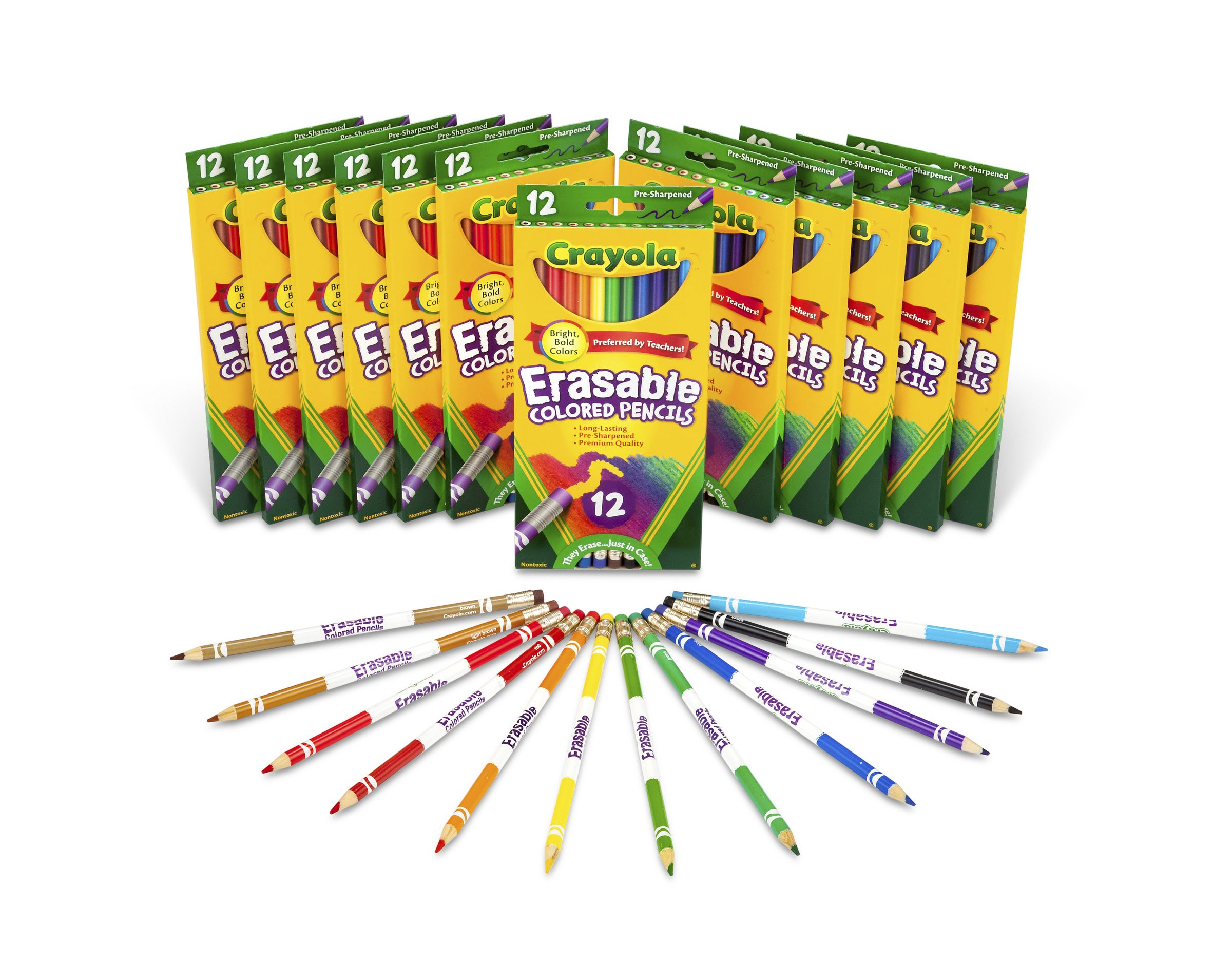 Crayola Bulk Erasable Colored Pencils, Classpack, 12 Packs of 12-Count