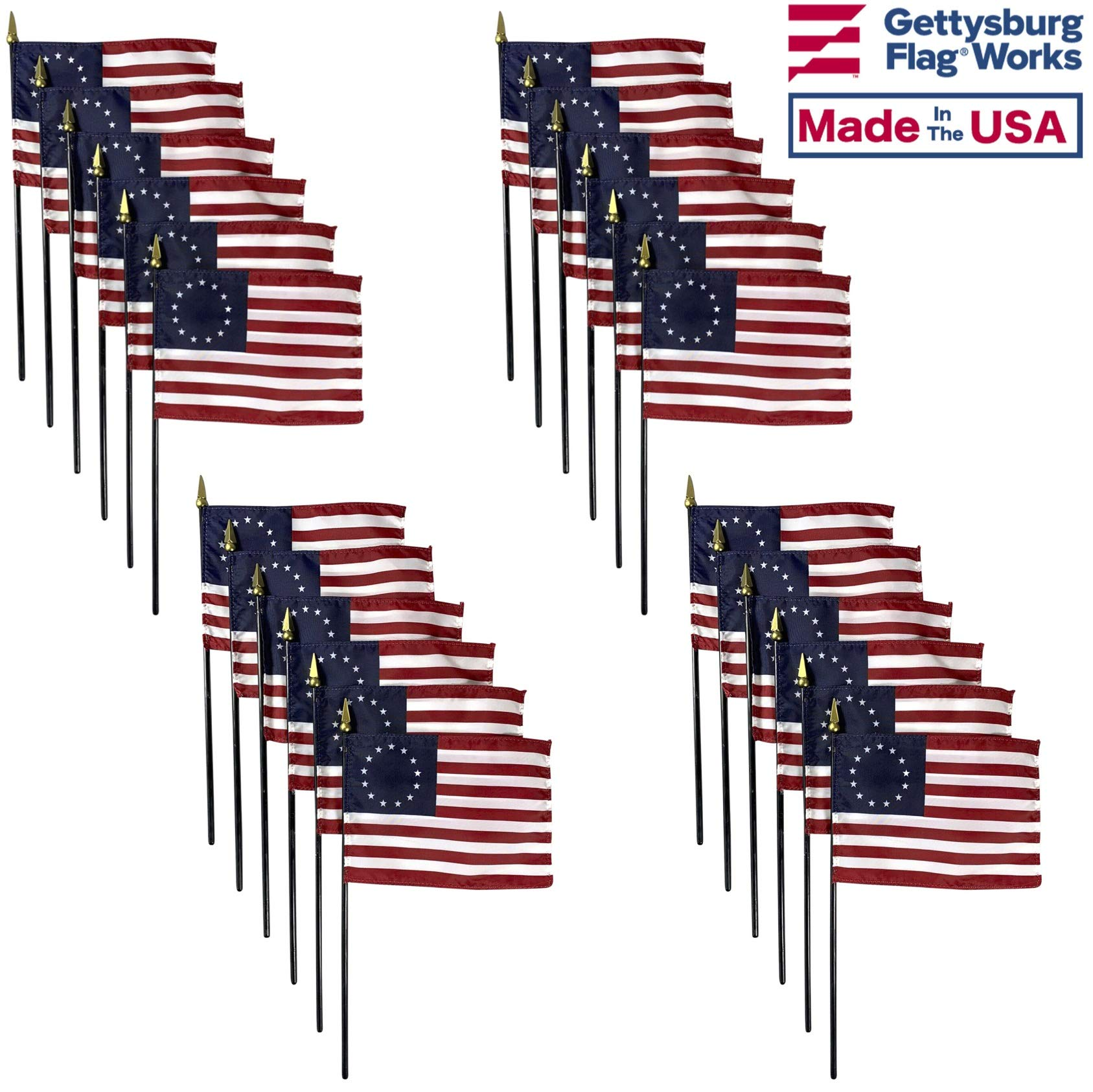 4x6 E-Gloss Betsy Ross Stick Flag - Flag Only - Qty 24 by Gettysburg Flag Works