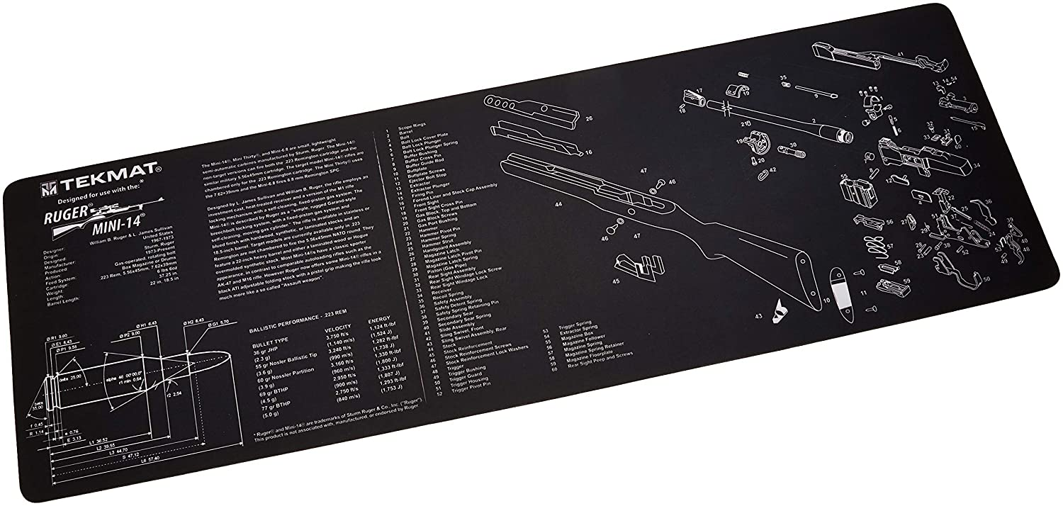 TekMat Ruger Mini 14 Cleaning Mat / 12 x 36 Thick, Durable, Waterproof /  Long Gun Cleaning Mat with Parts Diagram and Instructions / Armorers Bench