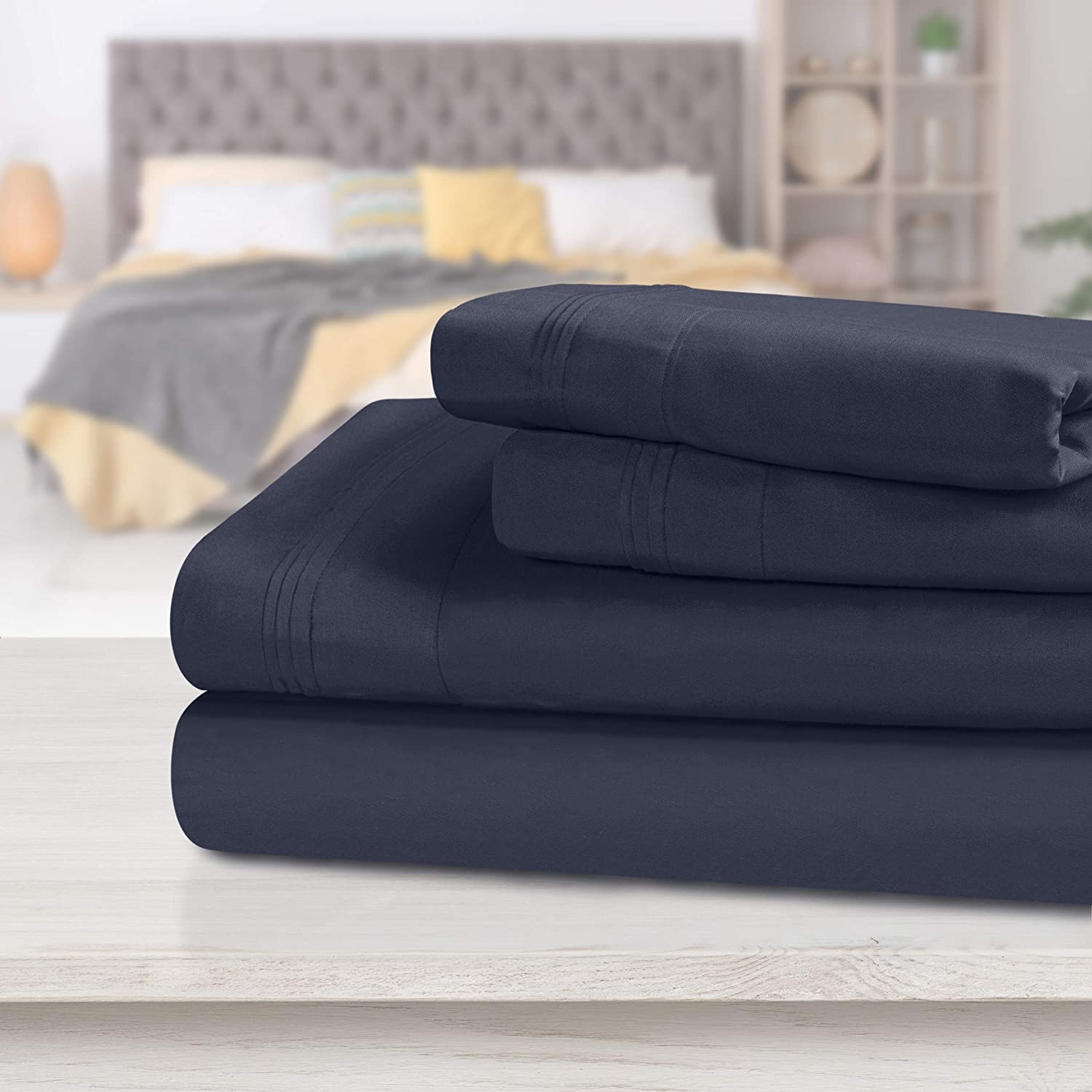 Select Bedding Linen 1000 Thread Count Egyptian Cotton AU Sizes Navy Blue Solid