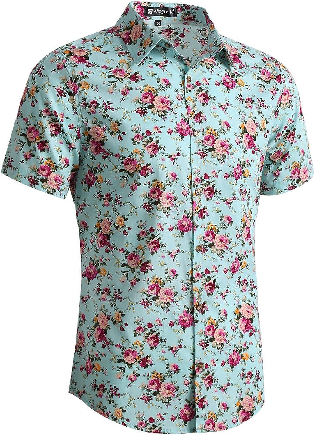 uxcell Men Short Sleeve Button Front Floral Print Cotton Beach Hawaiian Shirt