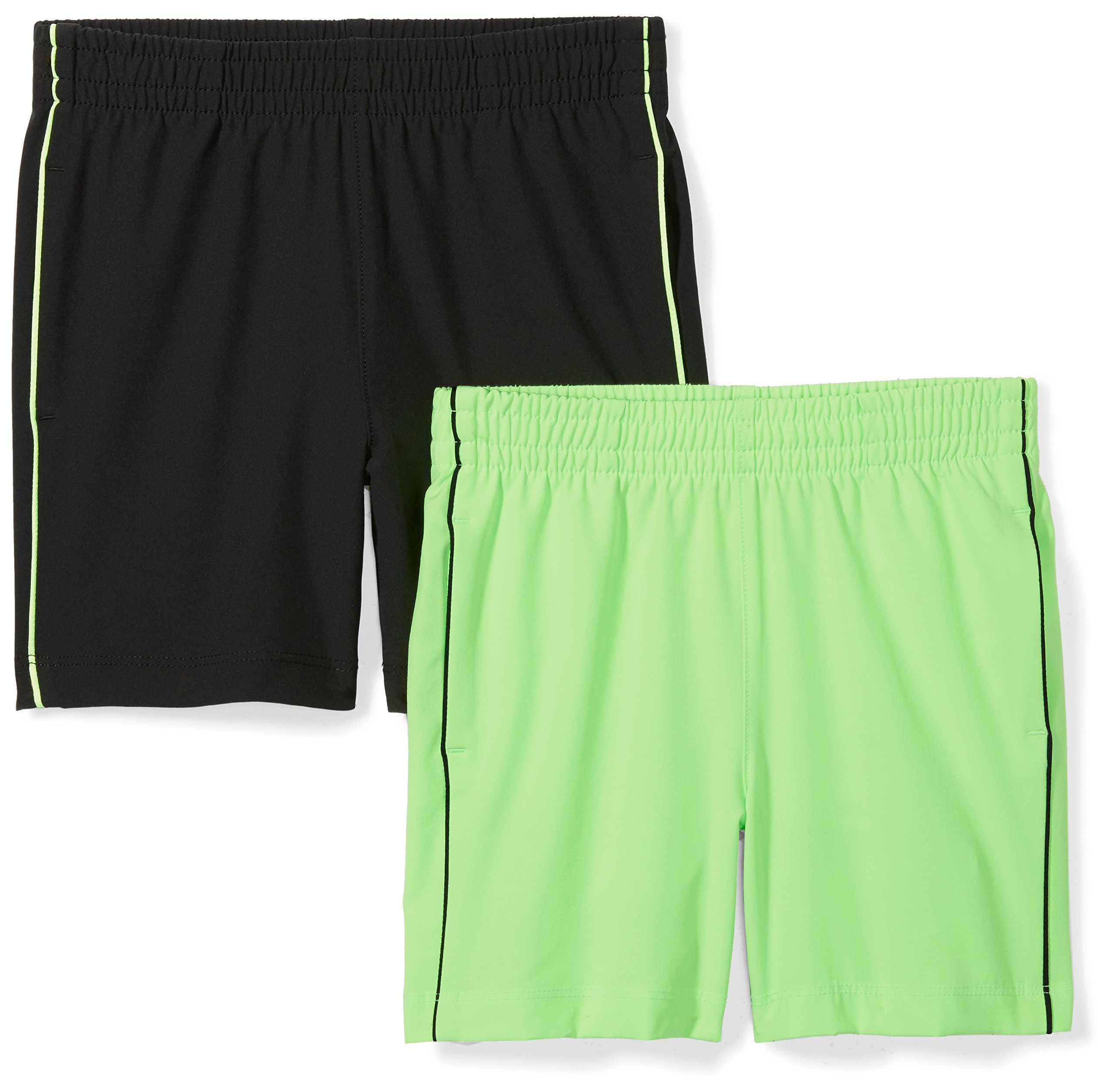Spotted Zebra Big Boys' 2-Pack Active Woven Shorts, Green/Black, Large (10)