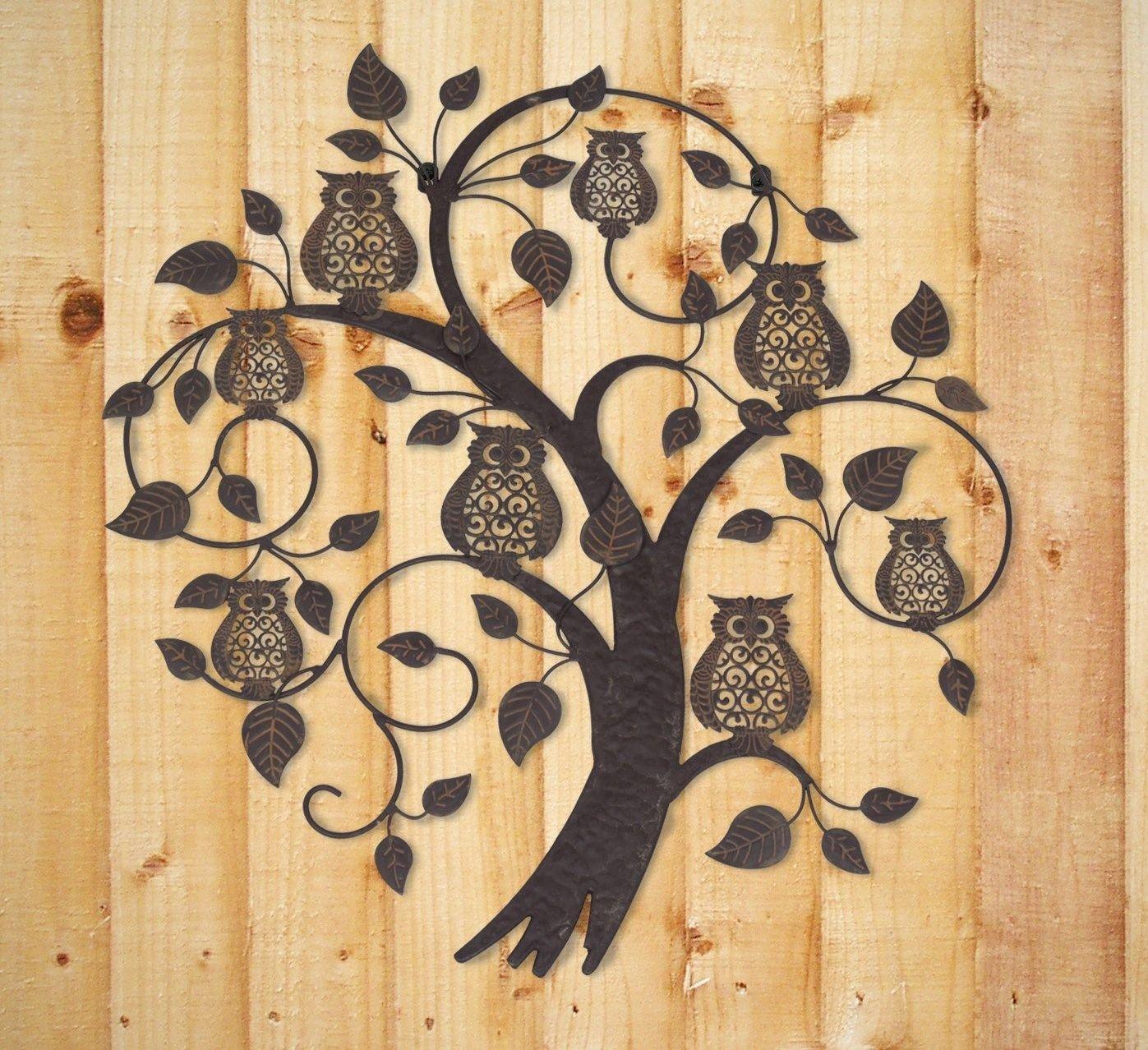 La Hacienda Treetop Owls Metal Wall Art: Amazon.co.uk: Garden & Outdoors