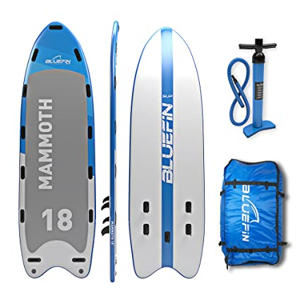 Bluefin Stand Up Inflatable Paddle Board | Mammoth 18 Model | Family/Group Board - Up to 10 Users | Includes Accessories