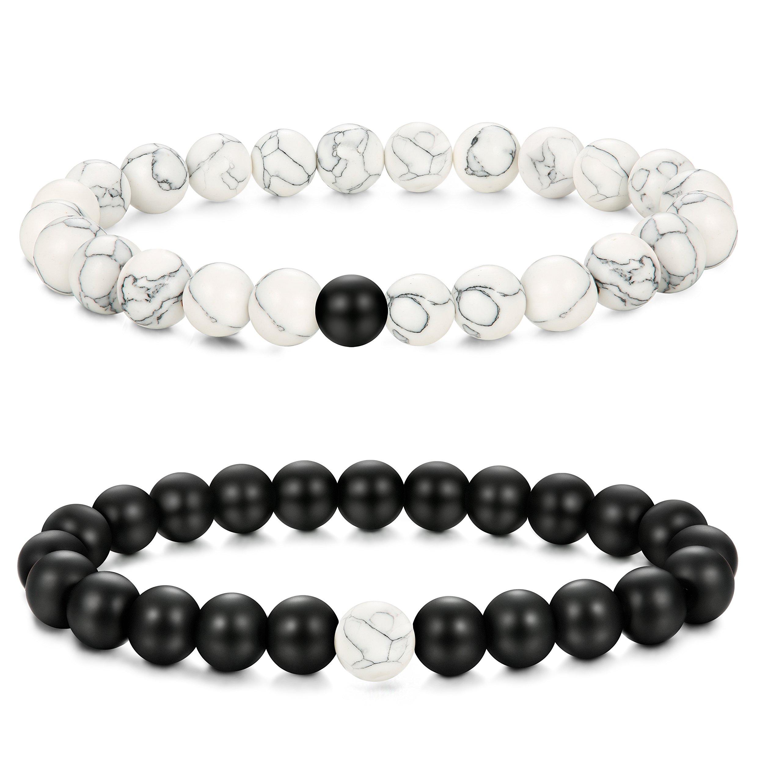 Jstyle Yin Yang Couples Necklace Bracelets for Women Mens Distance Leather Beaded Bracelet Adjustable 3Sets by Jstyle (Image #4)