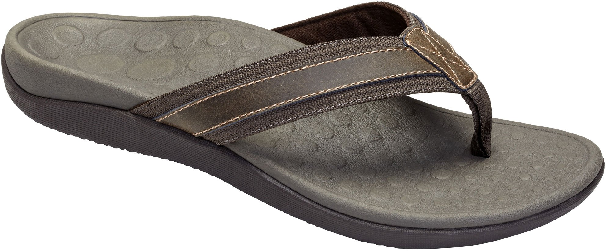 Vionic with Orthaheel Technology Men's Tide Toe Post Sandal,Brown,US 11 M