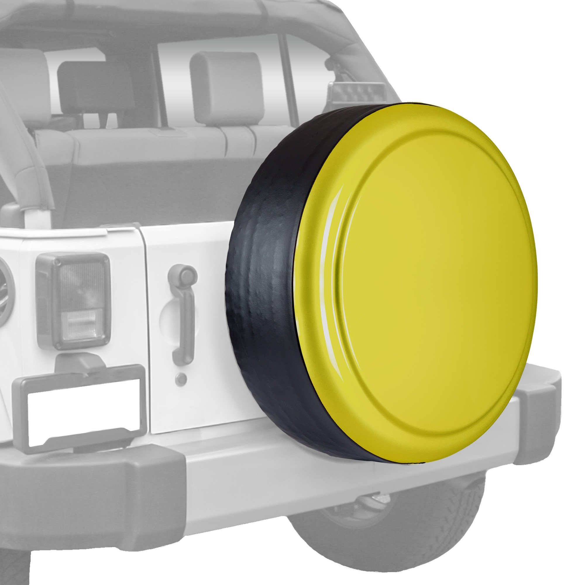 Jeep Wrangler (JK) - 32'' Color Matched Rigid Tire Cover (Plastic Face & Vinyl Band) - Acid Yellow by Boomerang (Image #1)