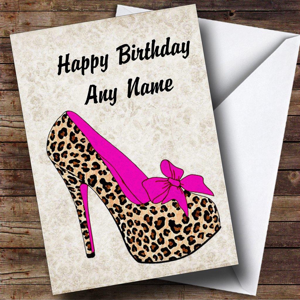 Amazon.com: Leopardo Stiletto rosa Tarjeta de felicitaciones ...
