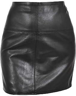 9ec95cb531e Womens Real Soft Black Leather Mini Skirt 16
