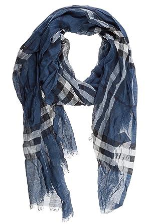 c2f5607c0e8c Burberry écharpe femme en laine mu gauze blu  Amazon.fr  Vêtements ...