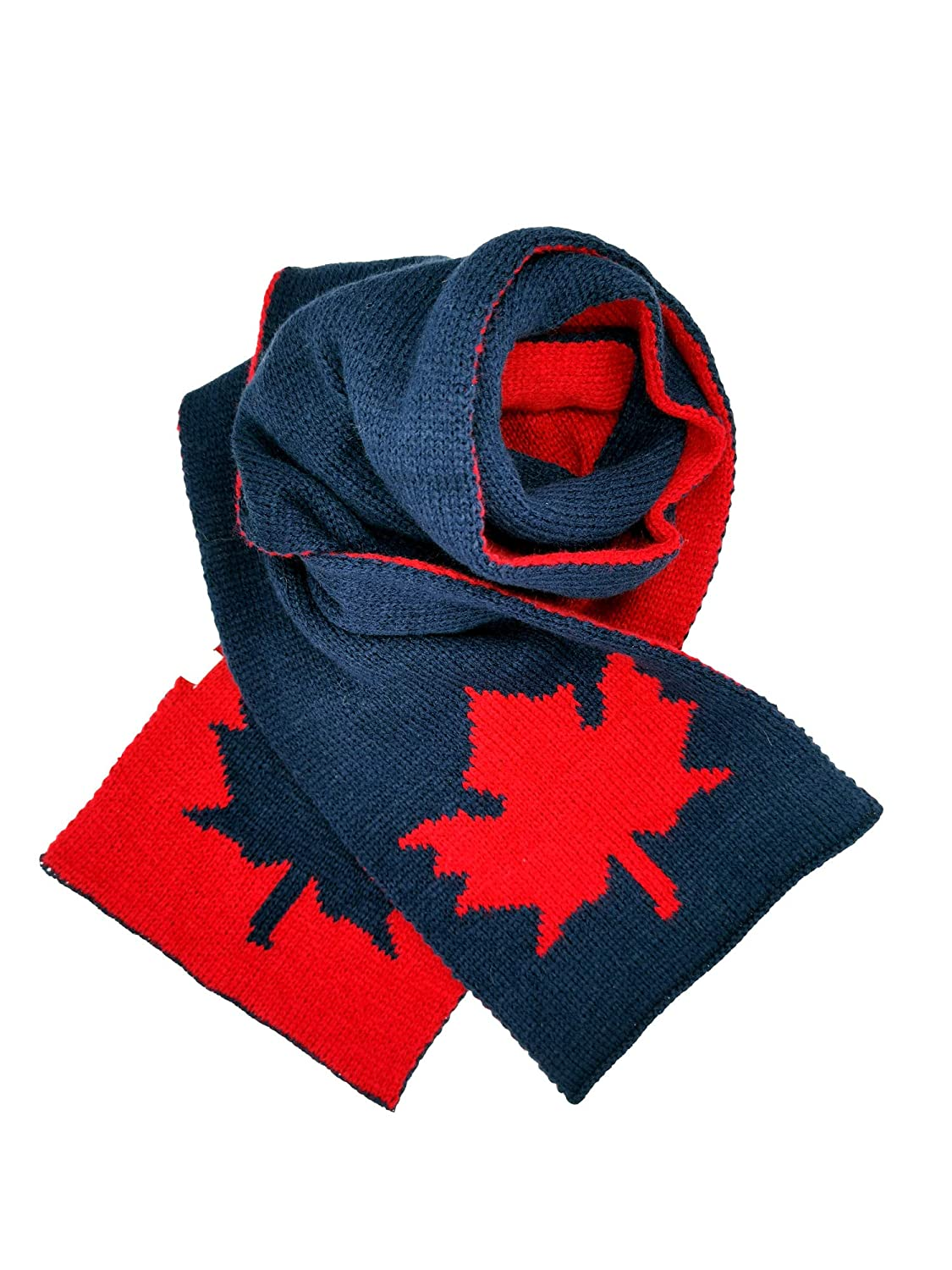 Double Jacquard Knit Warm for Girls and Boys Navy luyi Canadian Maple Leaf Culture Winter Scarf