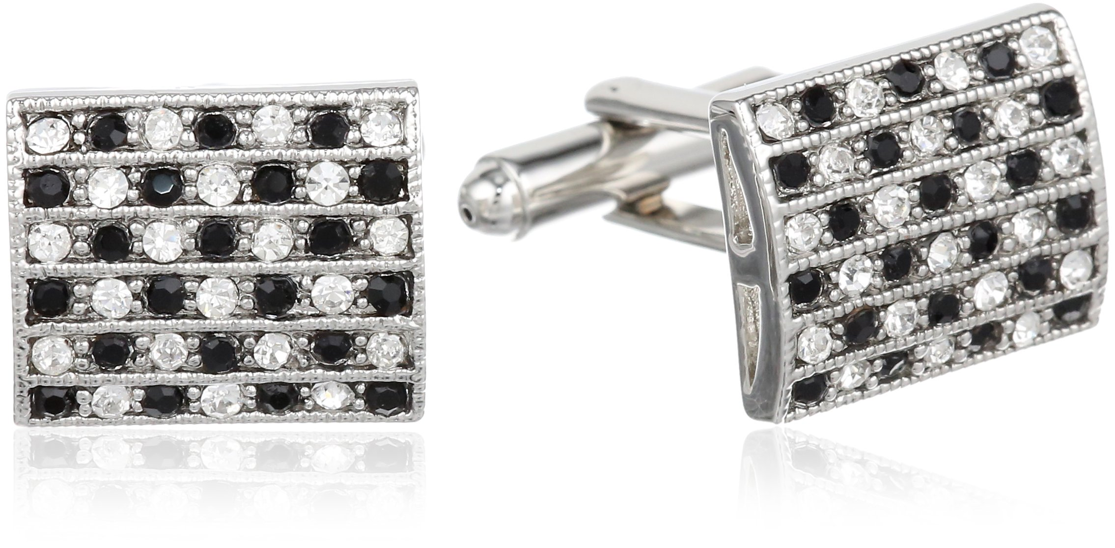 Stacy Adams Men's Cuff Link With Black and Clear Crystals, Silver, One Size