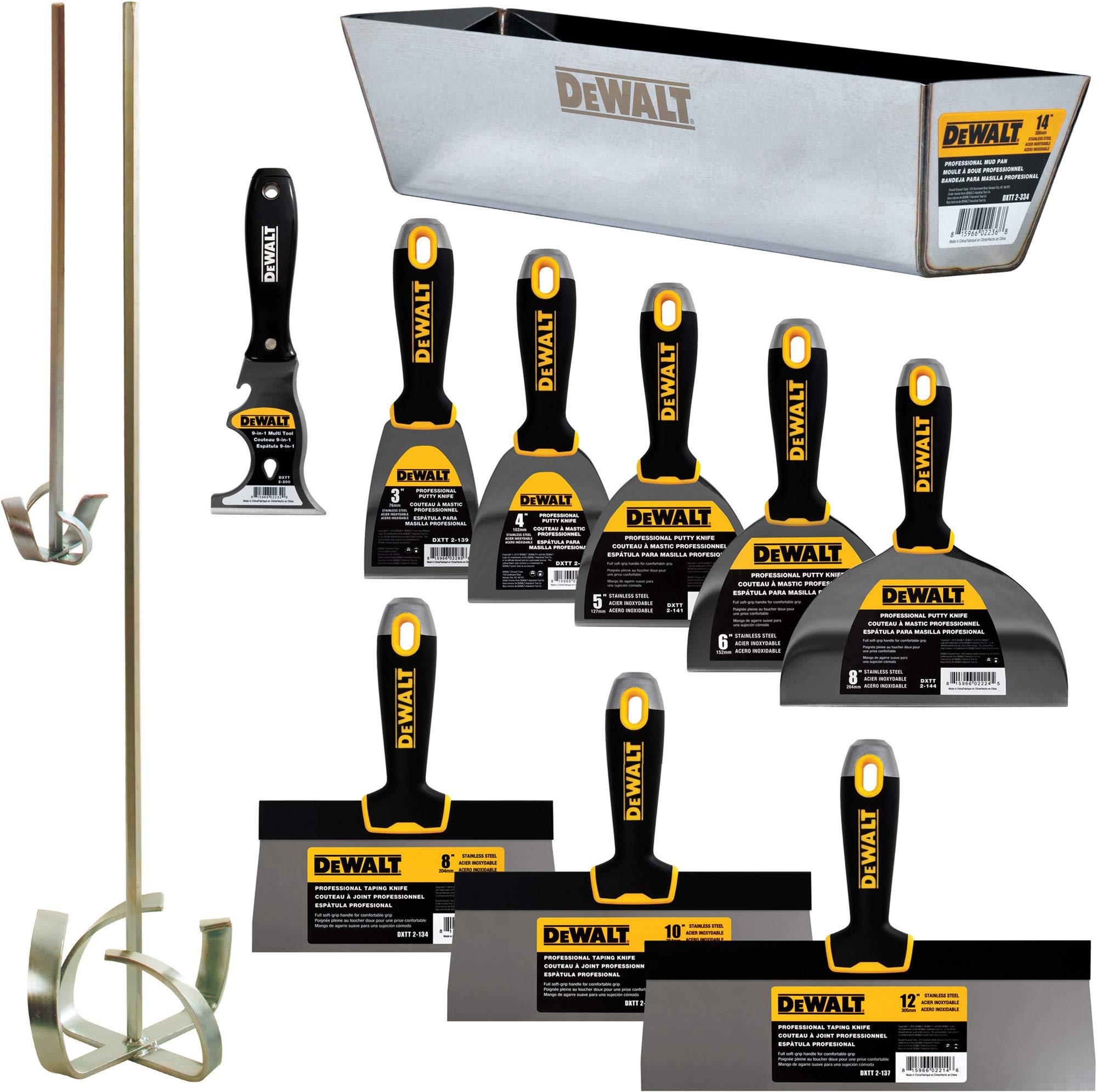 DEWALT DELUXE Stainless Hand Tool Set | 8/10/12'' Taping Knives, 3/4/5/6/8'' Putty Knives, 2 Mud Mixers, 9-in-1 Painter's Multitool + FREE BONUS 14'' Mud Pan | DXTT-3-609 by DEWALT