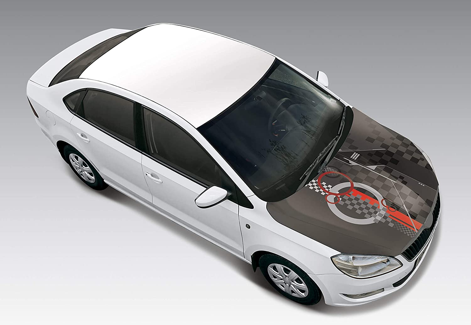 Autographix checkmate car bonnet wrap small size black grey red amazon in car motorbike