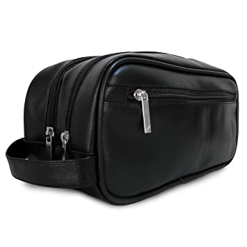 b412a538ce Mister Bag Leather Travel Toiletry Bag for Men or Women Waterproof. Travel  Size Toiletries Bag