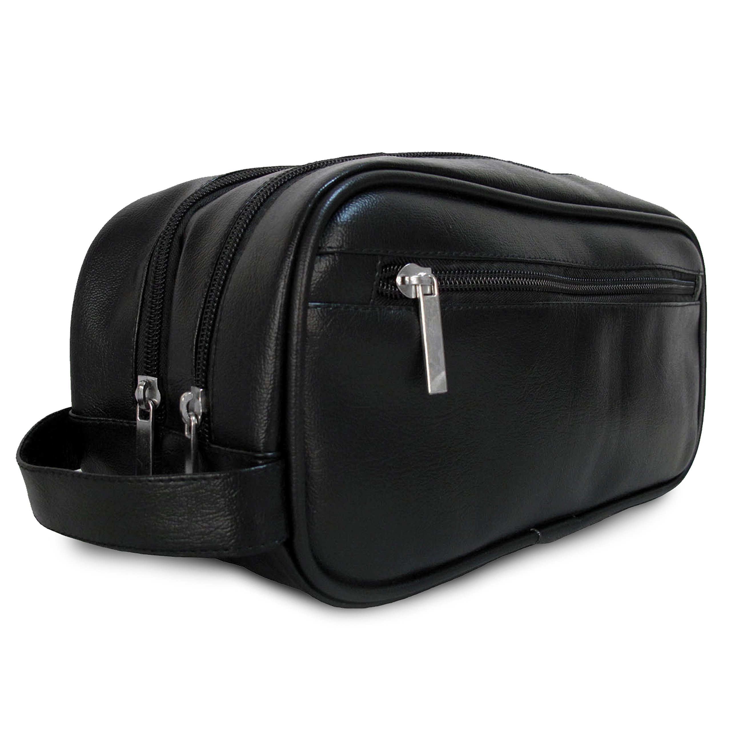 Mister Bag Leather Travel Toiletry Bag for Men or Women Waterproof. Travel Size Toiletries Bag Toilet Organizer Supply Two Compartments Perfect For Men's Travel Toiletry Bag Shaving Grooming Dopp Kit