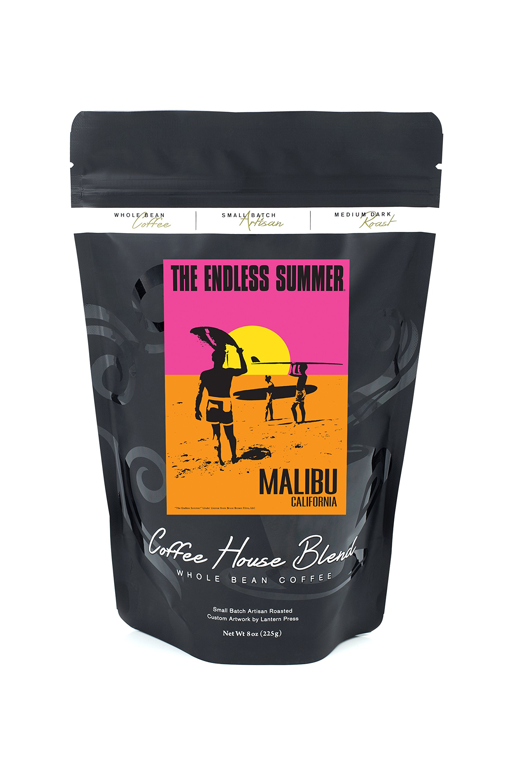 Malibu, California - The Endless Summer - Original Movie Poster (8oz Whole Bean Small Batch Artisan Coffee - Bold & Strong Medium Dark Roast w/ Artwork)