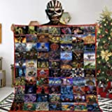 Moncome #Iron Maiden-Mexico Collage Quilt Music Gift for Lovers Fleece Blanket Lightweight Super Soft Cozy Luxury Bed Blanket Love Music 40x30