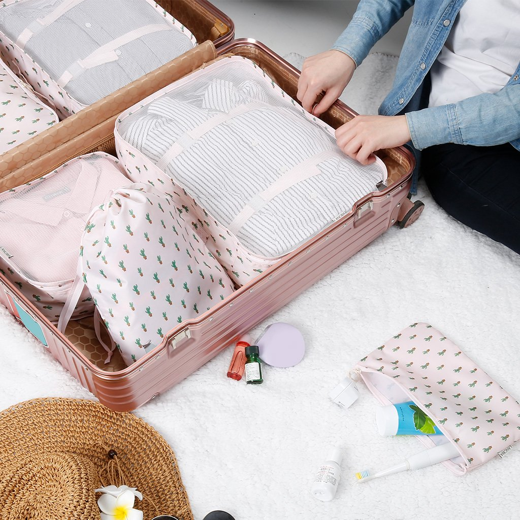 LANGRIA Foldable Packing Cubes Set for Travel Luggage Suitcase Bag Organizers for Underwear Shirts Trousers Shoes Toiletry for Business Trips Backpackers Women and Girls (6 Pc, Cactus Design, Pink) by LANGRIA (Image #9)