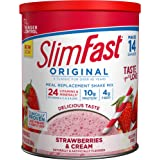 SlimFast Original Strawberries & Cream Meal Replacement Shake Mix – Weight Loss Powder – 12.83 Oz. Canister – 14 Servings - P