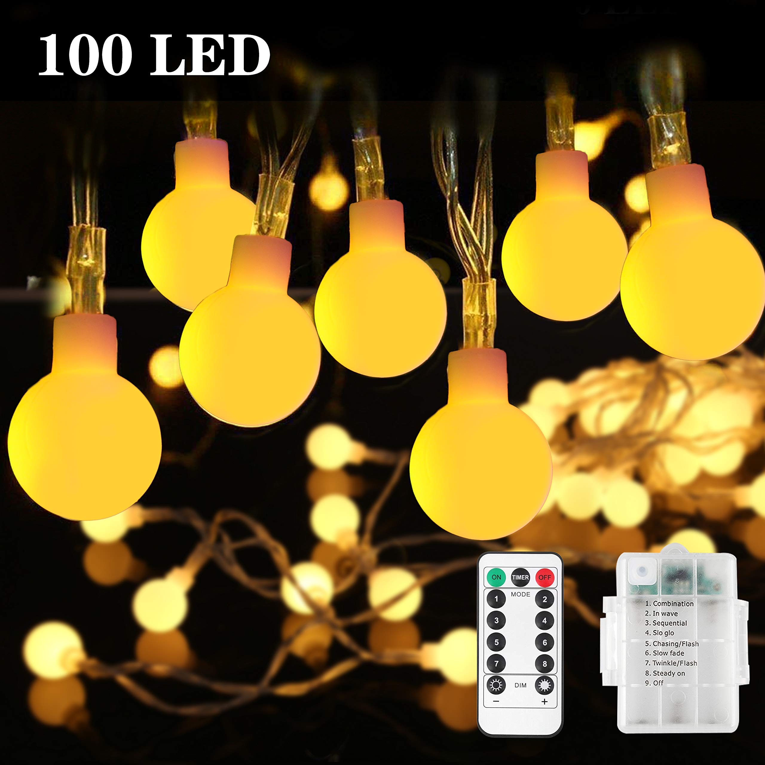 Battery Fairy Lights - Outdoor Fairy Lights [Remote & Timer] 33FT/10M 100Leds 8 Modes Waterproof Battery Powered Fairy Lights for Decorations Christmas (Warm White)