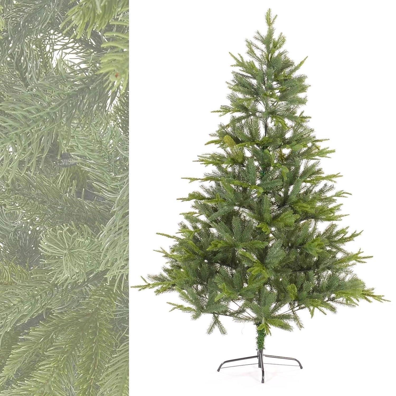 MACO Import Künstlicher Weihnachtsbaum aus Spritzguss - Plastik Tannenbaum mit 1023 Spitzen und Metallfuß 210 cm hoch
