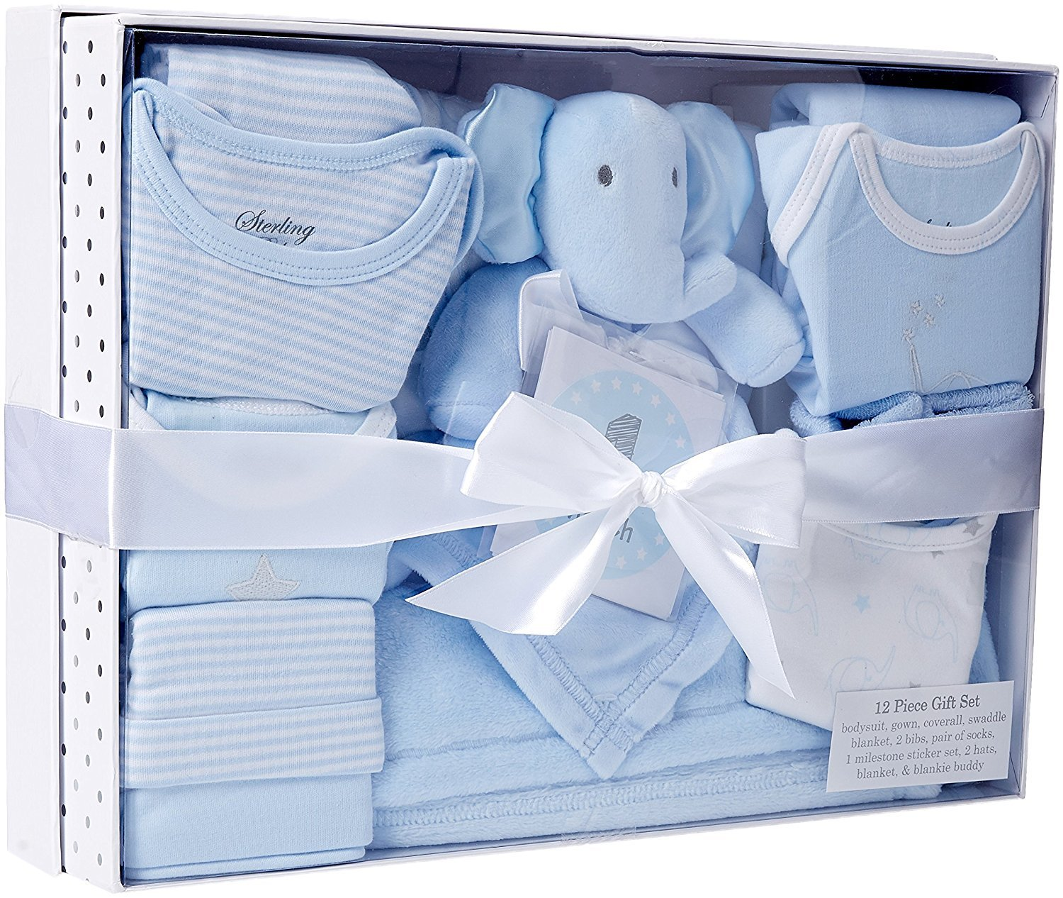 Sterling Baby by Boys' Essential 12 Piece Layette Boxed Gift Set for, Blue, 0-3 Months Clothing