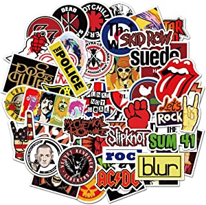 Rock and Roll Sticker Pack of 52 Stickers Rock Band Stickers for Laptops Hydro Flasks Water Bottles Luggage