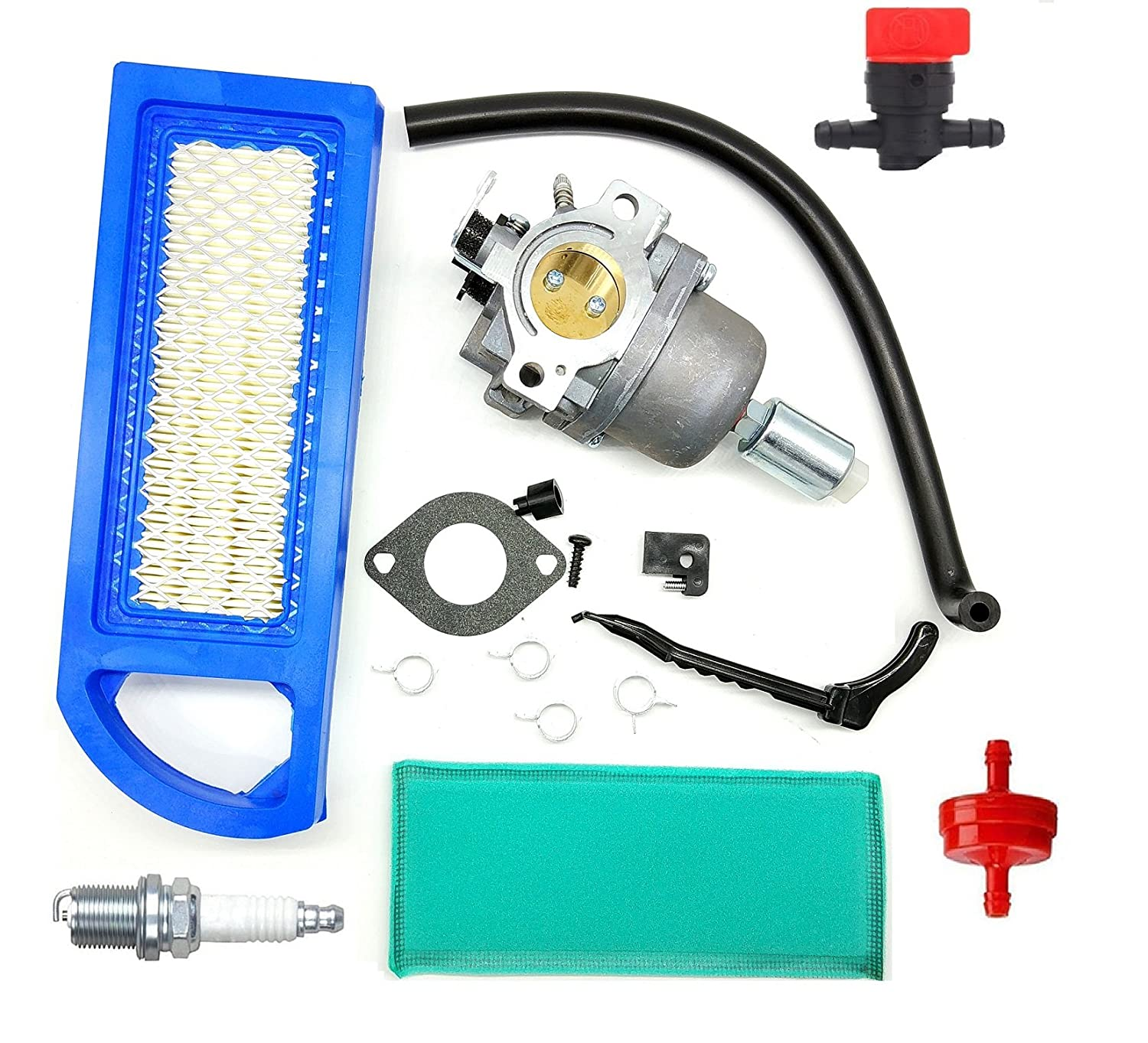 mdairc 794572 Carburetor with Air Fuel Filter Line Spark Plug for Briggs & Stratton 791858 791888 792358 793224 697190 697141 698445 Intek 14-18hp Carb 31A507
