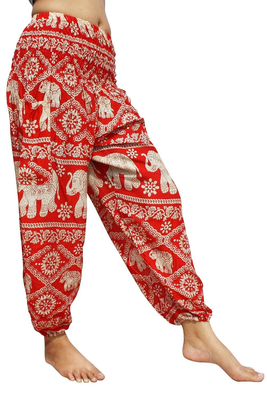 Elephant Table Pattern Red Full Funk Smocked Waist Women's Yoga Palazzo Hippie Boho Harem Pants Elephants