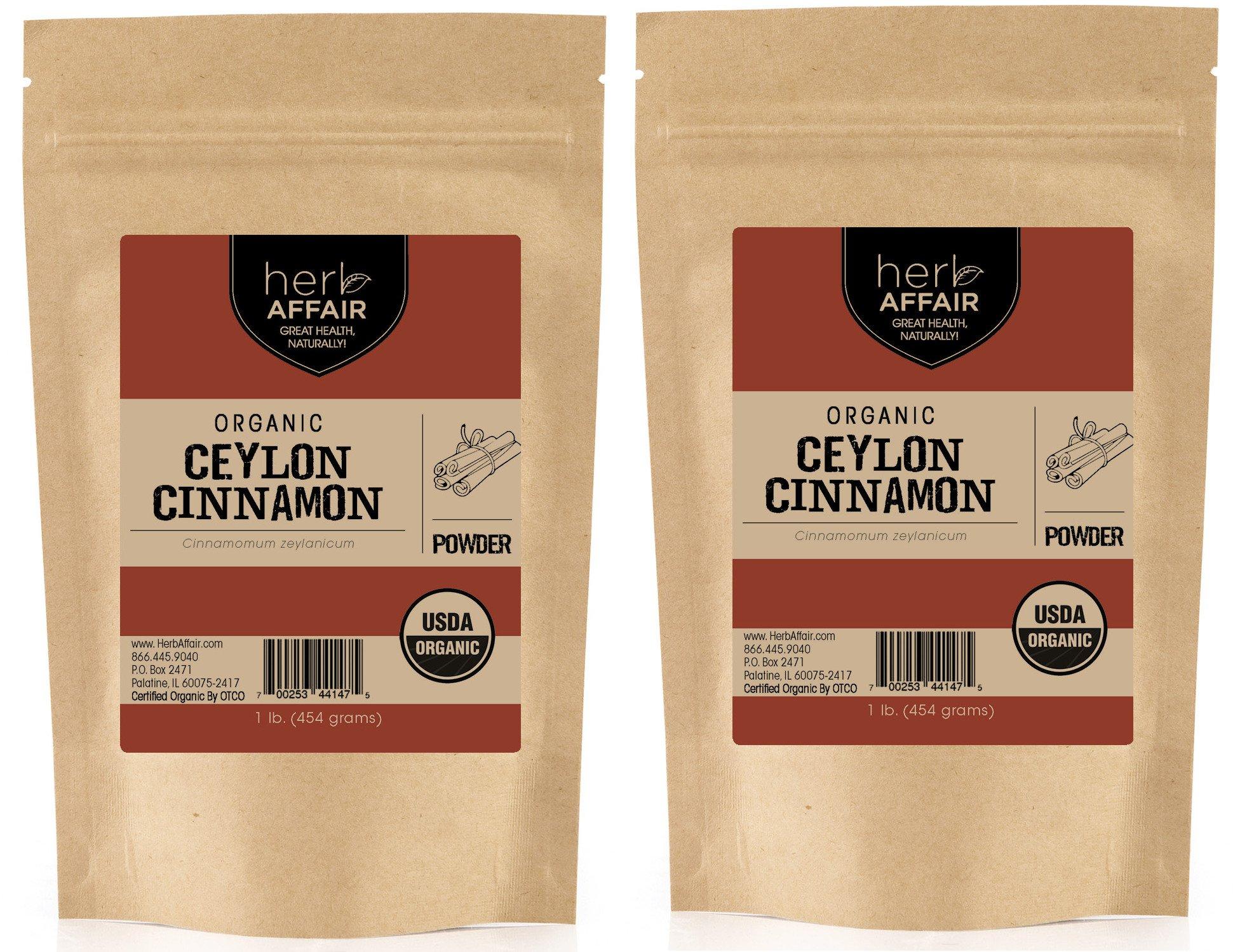 Herb Affair Organic Ceylon Cinnamon Powder, Freshly Ground, Referred to As True Cinnamon, Sweet, Delicate and Mild Flavor (2 lb. (2 1lb.))