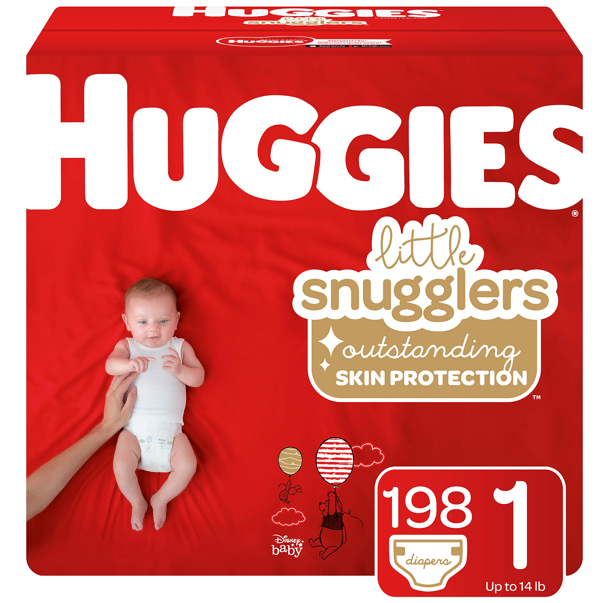 Huggies Little Snugglers Baby Diapers, Size 1 (up to 14 lb.), 198 Ct, Economy Plus Pack (Packaging May Vary) by HUGGIES