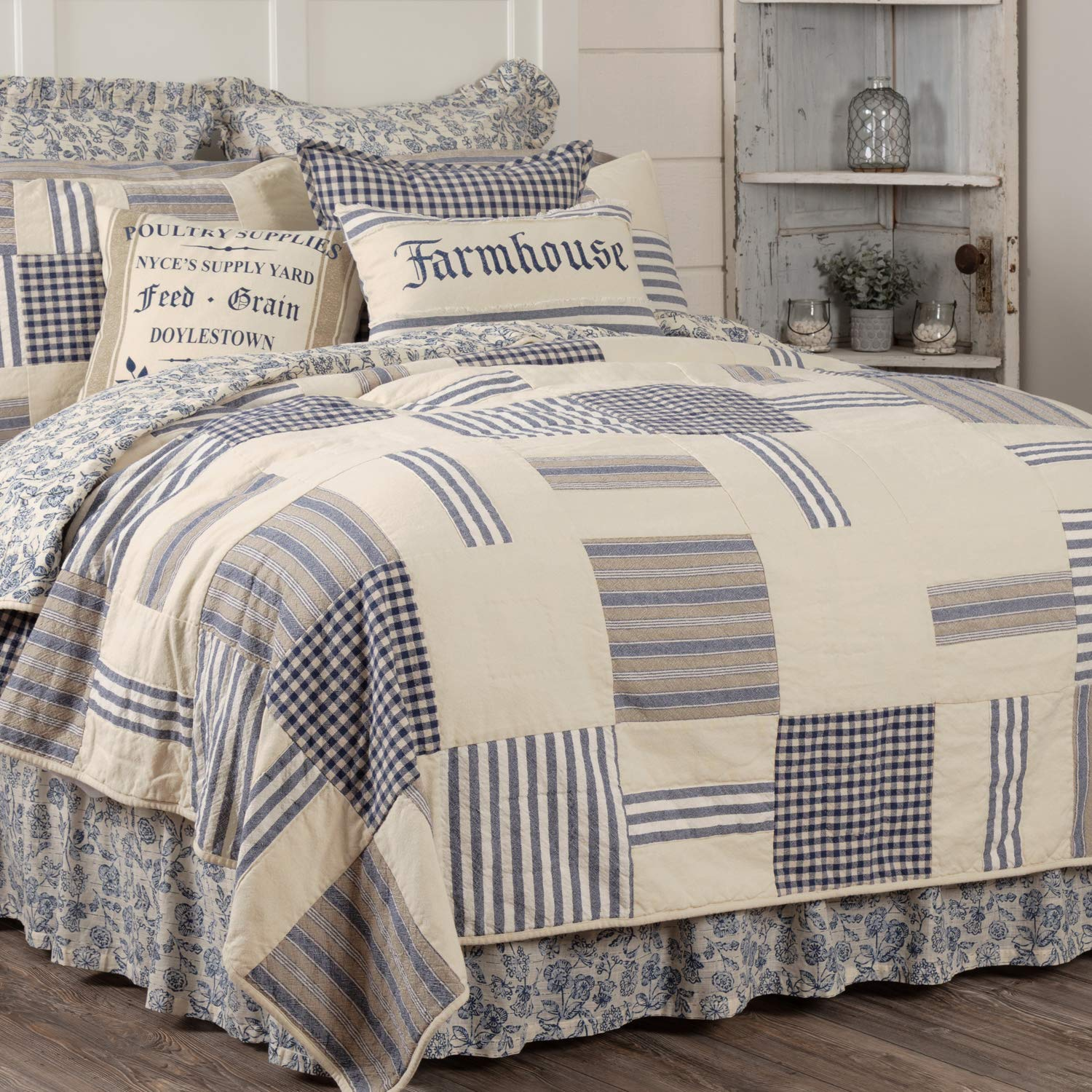 Piper Classics Doylestown Blue Queen Patchwork Quilt, Gingham Checks, Grain Sack & Ticking Stripes, Reversible to Floral Print, Blue & Cream Vintage Farmhouse Bedding, Rustic Country, Cottage Bedroom