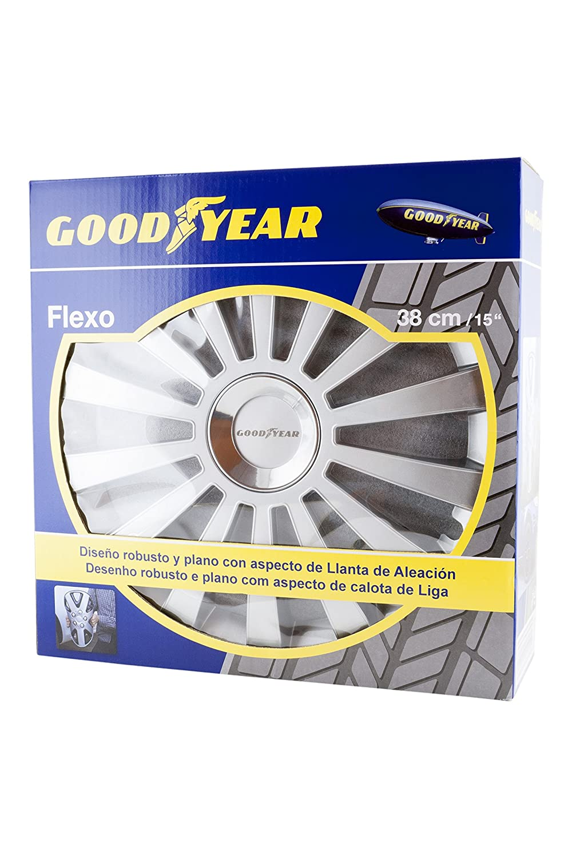 Good Year GOD9030 Plata 15 Pulgadas Set de 4 Tapacubos Flexo 30
