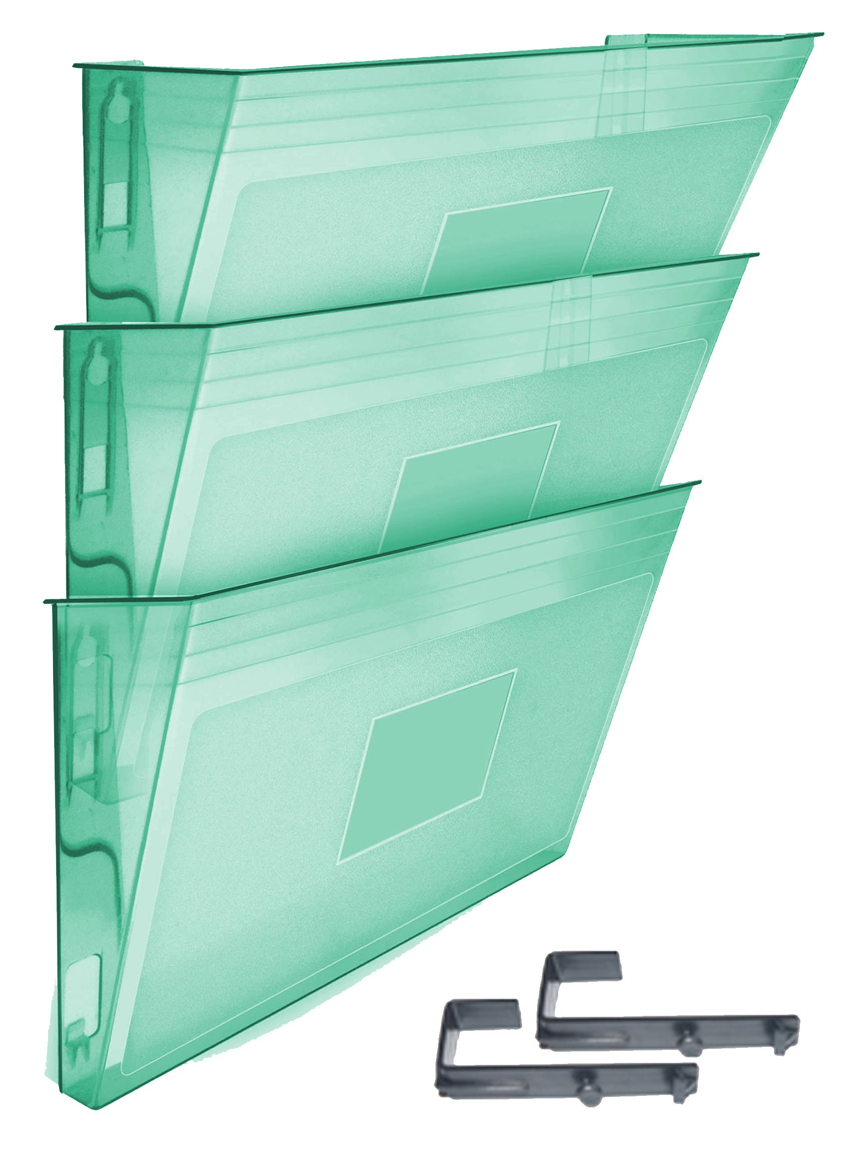 Acrimet Wall-mounted Modular File Holder (3 - Pack) (Clear Green Color)