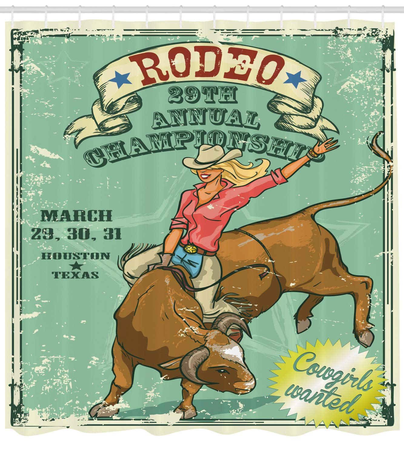 Ambesonne Retro Shower Curtain, Rodeo Cowgirl on The Bull Annual Championship Vintage Poster Pattern Grunge Design, Fabric Bathroom Decor Set with Hooks, ...