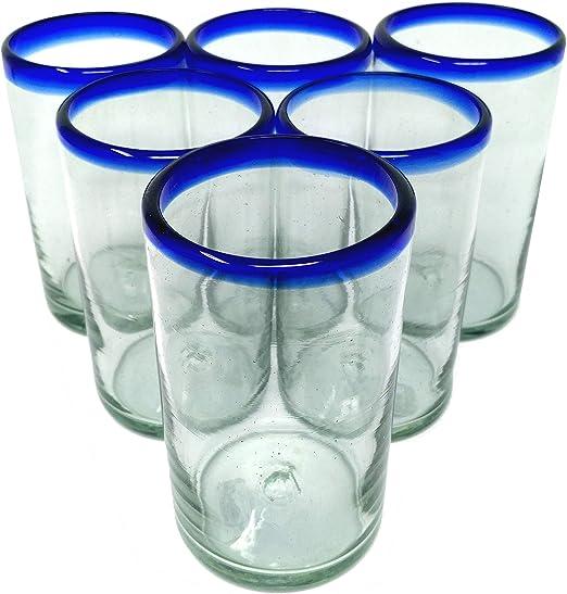 Amazon.com: Hand Blown Mexicano – Juego de 6 vasos con borde ...