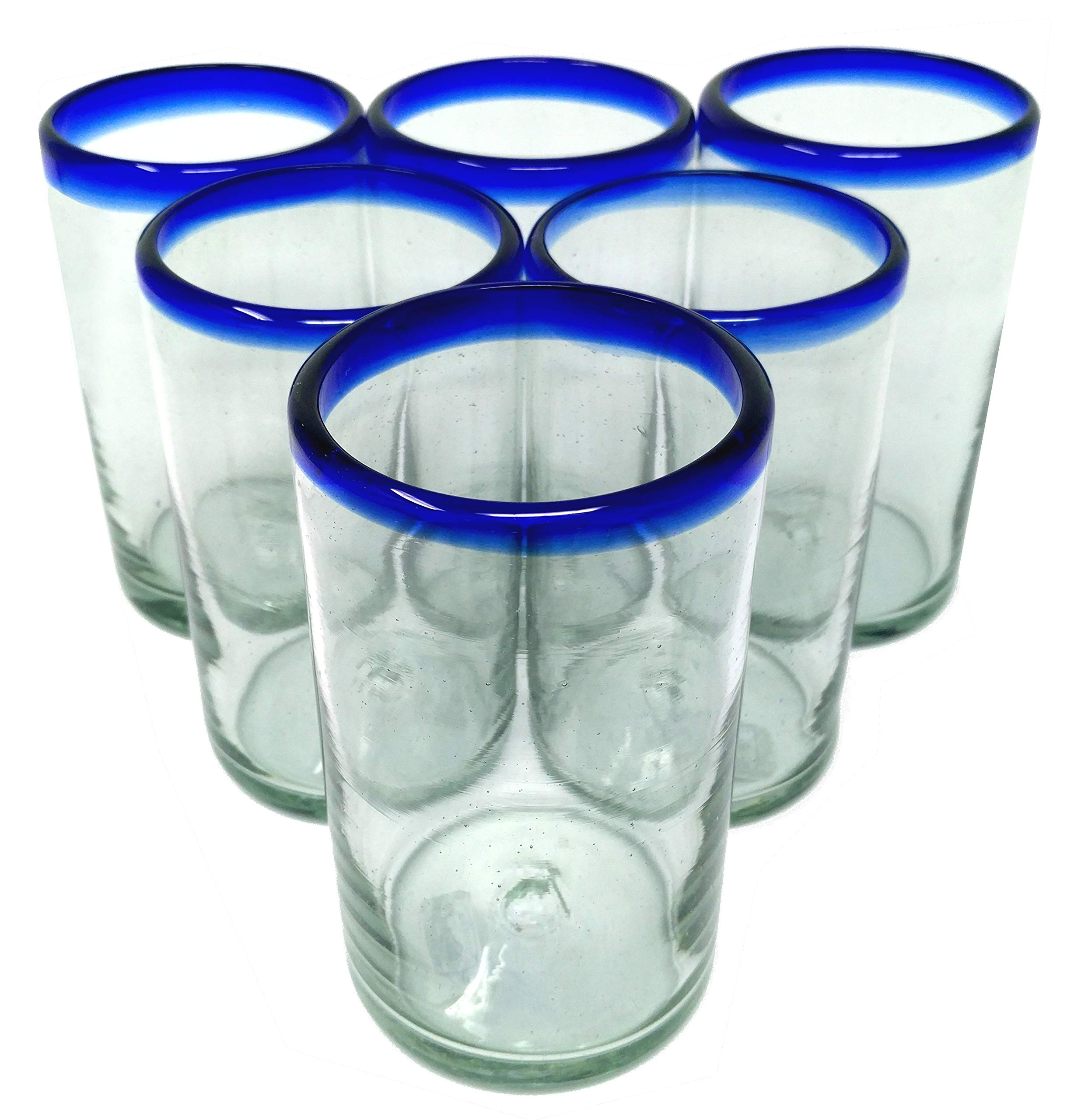 Hand Blown Mexican Drinking Glasses - Set of 6 Glasses with Cobalt Blue Rims (14 oz each)